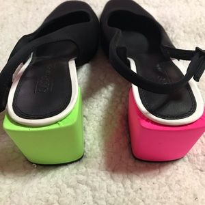 Neon pink and green black and white size 3